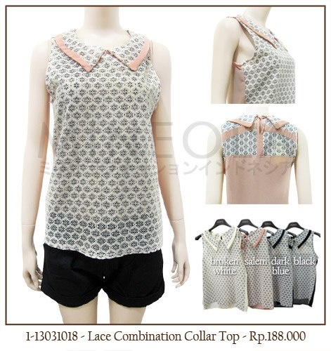 #MINEOLA #NewArrival - Lace Combination Collar Top Salem color. Also available in broken white, dark blue, and black color. Get this for only Rp.188.000,-   Fabrics: Polyester - Product code: 1-13031018 - Bust: 86cm - Length: 58cm (front), 61cm (back)
