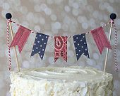 Red and Blue Cowboy Horse Western Birthday Cake Bunting Pennant Flag Cake Topper-MANY Colors to Choose From!  Birthday, Shower Cake Topper