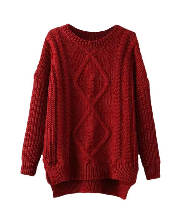 Rhombus-pattern Asymmetric-hem Loose Md-long Sweater | BlackFive