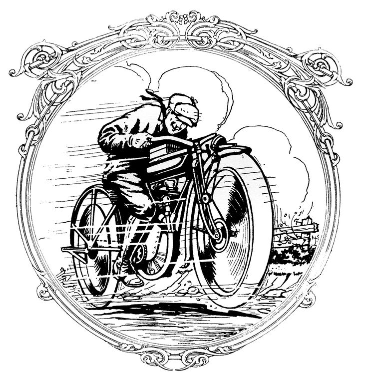 Vintage Clip Art - Motorcycle Man - Father's Day