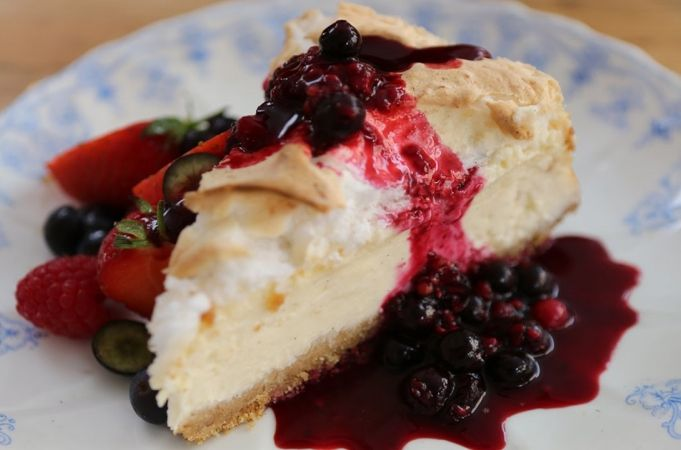 Dairy & Gluten Free Coconut Berry Cheesecake  http://www.jamieoliver.com/recipes/fruit-recipes/dairy-free-coconut-cheesecake/