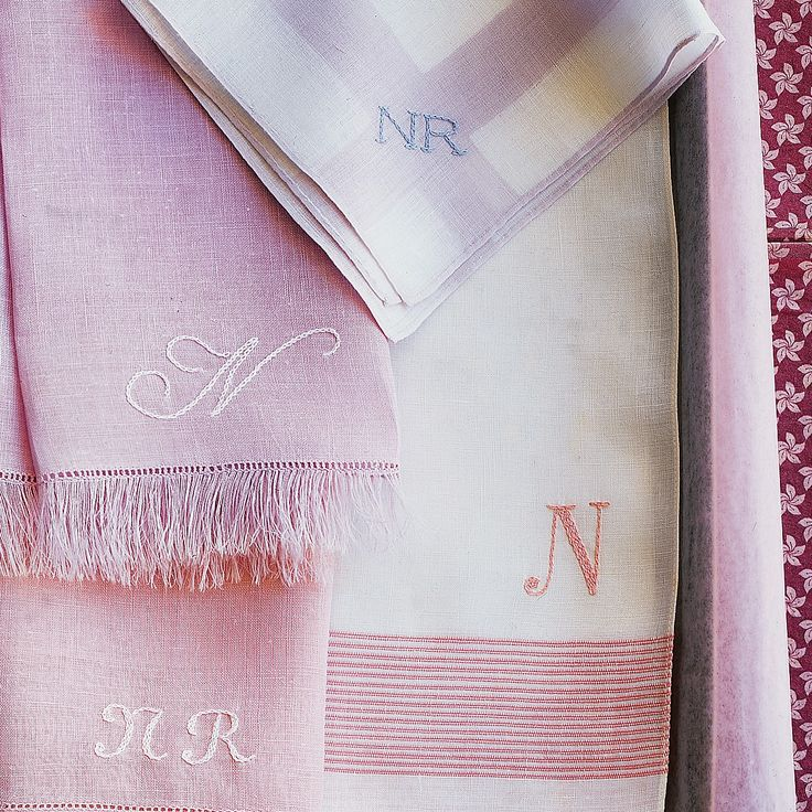 A monogram is a lovely way to personalize a handkerchief or napkin. Just choose a font on your computer and embroider initials.