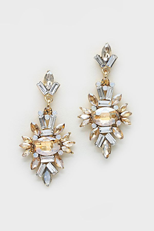 Crystal Adalyn Earrings in Champagne