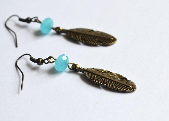 Bohemian Feather Earrings Native American Inspired by LOVEnLAVISH,