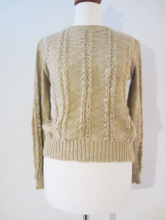 80s Gold Beige Cable Knit Sweater by Marisa Christina, S // Vintage Lightweight Knit Jumper // Winter Sweater