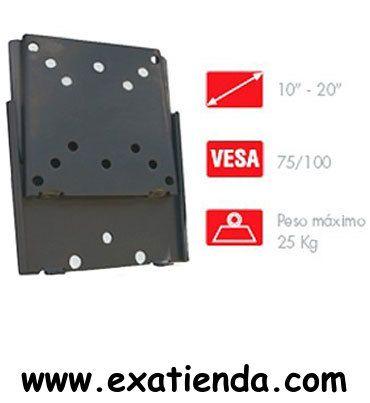 """Ya disponible Soporte pared vesa 10"""" 20""""   (por sólo 17.89 € IVA incluído):   -Soporte extraplano de pared para pantallas planas de 10"""" a 20"""" (25'5 a 51 cm).   -SOPORTE -Extraplano, distancia a la pared: 1'5 cm -Nivel de burbuja -Color: Negro -Peso máximo soportado: 25 kg -Medidas de la placa: Placa de 11 x 11 cm con orificios norma VESA 50/75/100 -Peso de la placa: 0,5 kg  -P/N: STV-652N Garantía de 24 meses.  http://www.exabyteinformatica.com/tienda/700-soporte-pa"""