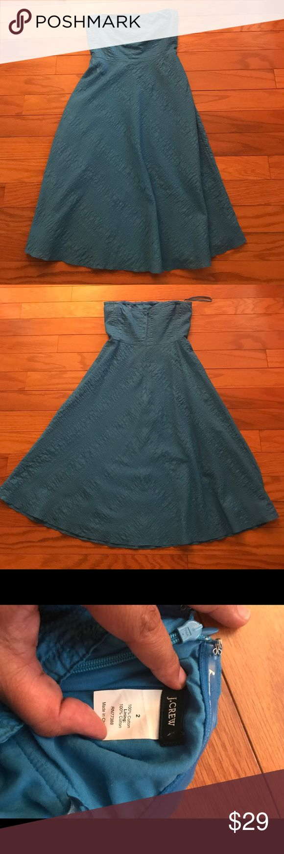 J. Crew Blue Strapless Sundress Everyone needs a classic cotton sundress! This one is for you. Classic silhouette. Textured. 100% cotton. Lined. J. Crew Dresses Strapless