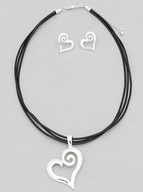 """Silver and Leather Heart Necklace Set from sheerFAB.com  SILVER AND LEATHER HEART NECKLACE SET  $14.95   Show your style with this beauty. A swirling Leather Heart necklace and earrings set.   - Color : SILVER-BLACK - Size : 17"""" with 3"""" Extension"""