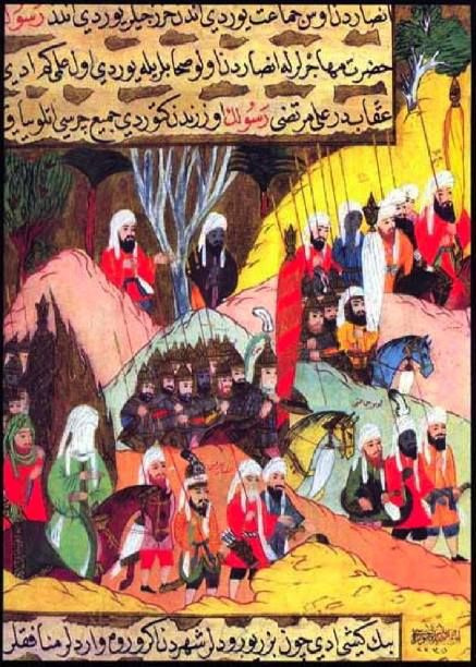 Mohammed (in green, lower left) marching to the Battle of Uhud. From the Siyer-i Nebi. In the Museum of Turkish and Islamic Art, Istanbul.