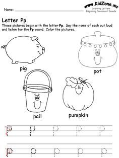 learning letters worksheet - free printable tracing worksheet for the letter P (Site has all other letters as well. Print this, put it in sheet protector, let the kids use it every day as tracing practice. On Friday, take it out of the protector and let the kids color it and trace the letter for hanging.
