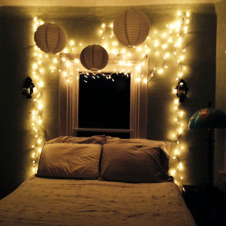 My bedroom oasis: Twinkle lights, white, and stripes.