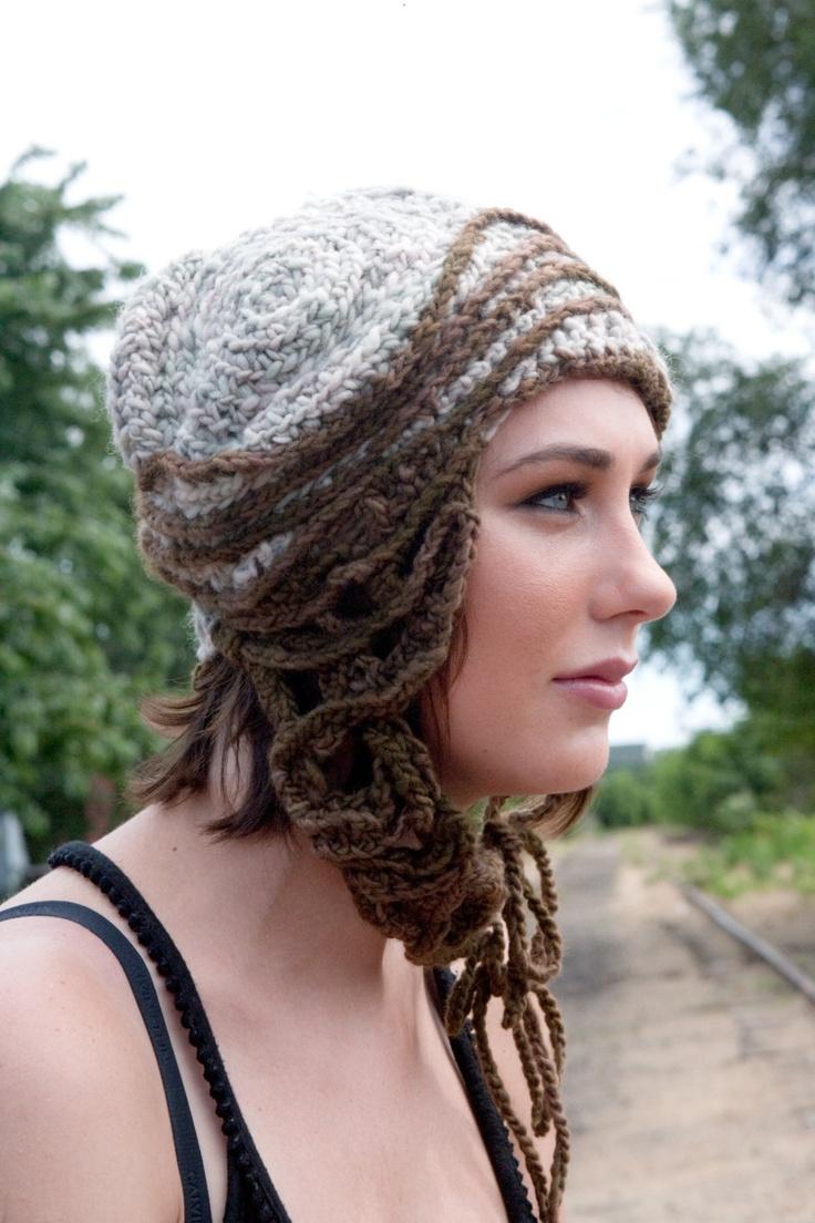 Earth Line- freeform crochet hat