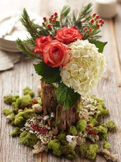 Naturally Charming Woodland Wedding Centerpieces.