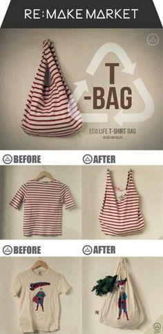 Recycler ses tee-shirts en sacs à mains.