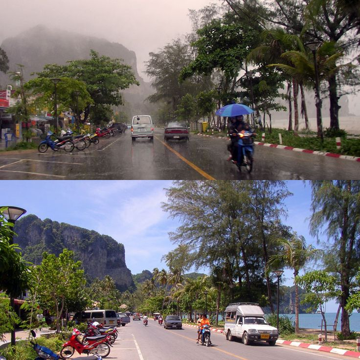 Information about Krabi during rainy season. Recommends an accurate weather service.