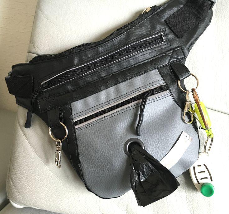 Bauchtasche aus Kunstleder mit Platz für all den Kleinkram der bei einem Spaziergang mit Hund dabei sein muss: Handy, Schlüssel, Clicker, Leckerli, Zeckenzange/-karte, Hundepfeife, K***tüten....