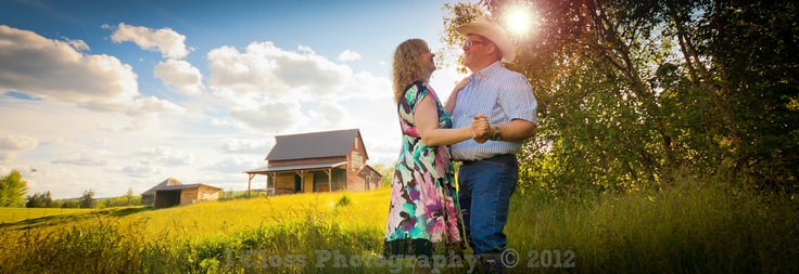 Country style engagement photo.