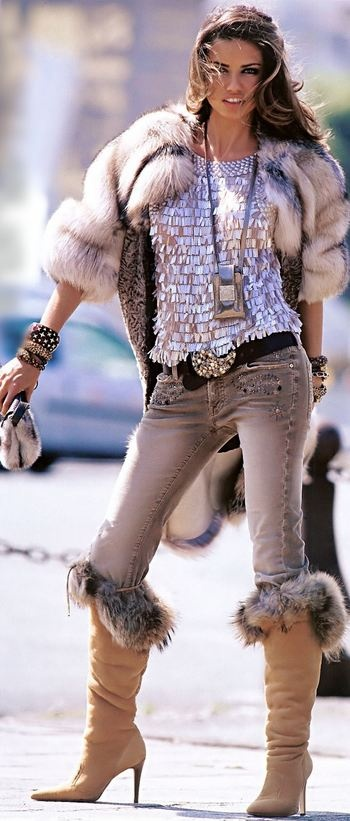 Fur topped boots+Fur jacket+ Grey jeans+ Statement belt and braclets=Yes!!