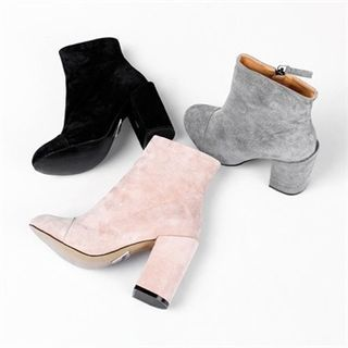 Buy 'GLAM12 – Faux-Suede Ankle Boots' with Free International Shipping at YesStyle.com. Browse and shop for thousands of Asian fashion items from South Korea and more!