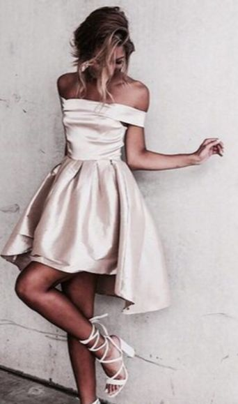 Cute Champagne Off the Shoulder Short Sleeves Pleats High Low Prom Dress | High low, White satin and Homecoming