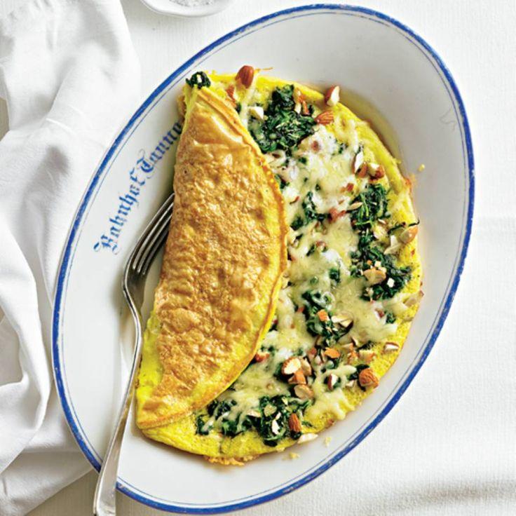 Spinat-Omelett mit Mandeln