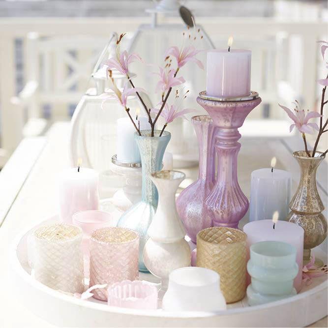 kaarsen - decoratie - kandelaar - pastel - candles