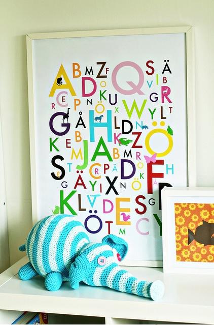 I'm a sucker for cute Alphabet stuff and little elephants!: Nurseries Inspiration, Crochet Blankets, Nurseries Alphabet, Kids Fabulous, Kids Stuff, Baby Nurseries Ideas, Alphabeth Includ, Kids Rooms, Alphabet Prints
