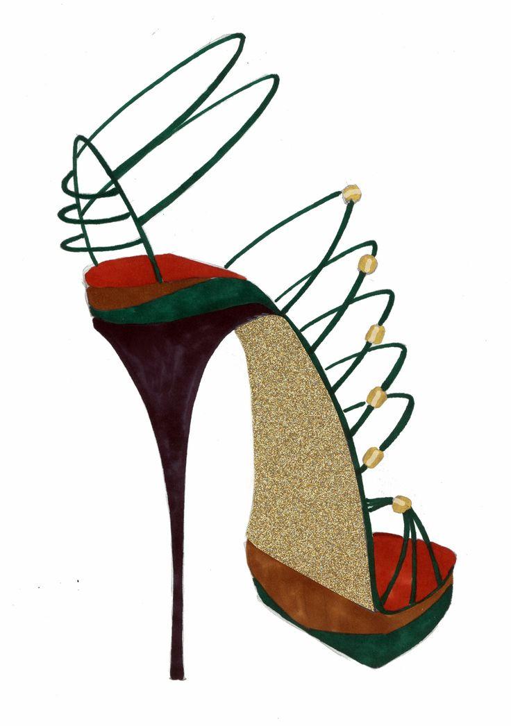 golden glitter high heel shoe sketch selina strunck shoedesign