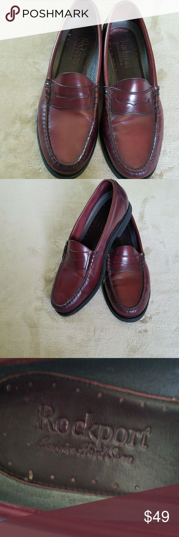 ROCKPORT LOAFERS WITH VIBRAM SOLES CORDOVAN  11 M ROCKPORT PENNEY LOAFERS WITH VIBRAM SOLES IN EXCELLENT CONDITION.  So classic are these great shoes! Perfect for casual or career. Size 11 M Cordovan leather upper and lining. A little wear on back part of heels see pics. Rockport Shoes Loafers & Slip-Ons