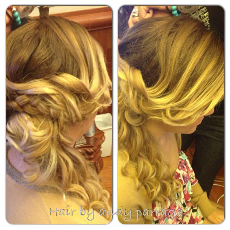 Hairstyle Pony Tail Braid Curly And Blonde
