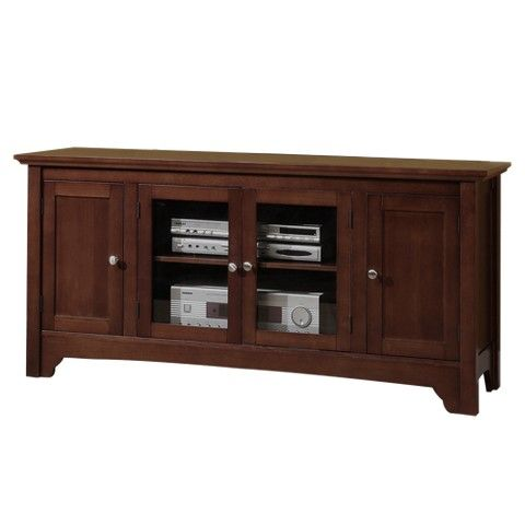 Solid Wood TV Stand with Doors - Walnut Brown