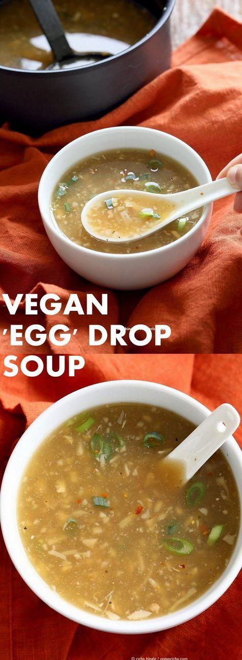 "Vegan Egg Drop Soup. Egg-less Egg drop soup with Jackfruit and Tofu. Soothing Chinese ""egg"" drop soup. Vegan Gluten-free Asian Recipe. | VeganRicha.com"
