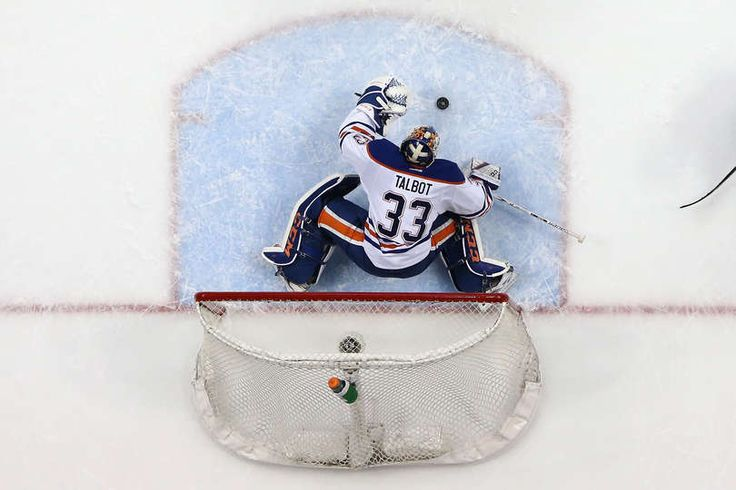 ANAHEIM, CA - APRIL 28: Cam Talbot #33 of the Edmonton Oilers stops a shot on goal during the second period of Game Two of the Western Conference Second Round during the 2017 NHL Stanley Cup Playoffs at Honda Center on April 28, 2017 in Anaheim, California. (Photo by Sean M. Haffey/Getty Images)