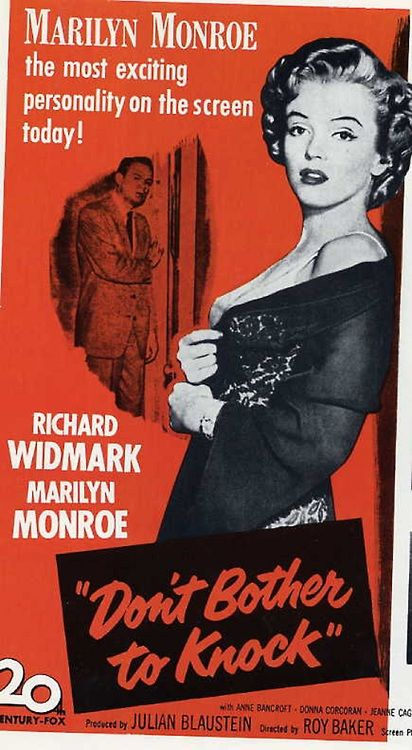 "Marilyn Monroe in ""Don't Bother To Knock"", 1952 movie poster"