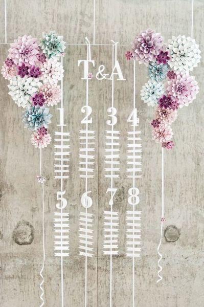 ロマンチックなイメージの吊り下げ型シーティングチャート♡ ピンクのキュートな席次表一覧。結婚式の席次表まとめ。