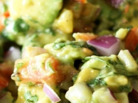 Avocado Salsa •3 avocados diced chunky  •1/4 cup chopped red onion  •3 Roma Tomatoes diced  •1/8 cup fresh cilantro finely chopped  •1 Tbsp. lime juice  •1/4 tsp. garlic salt  •1/8 tsp. pepper