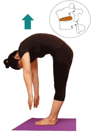 Rolling up from a standing forward bend can damage your spine