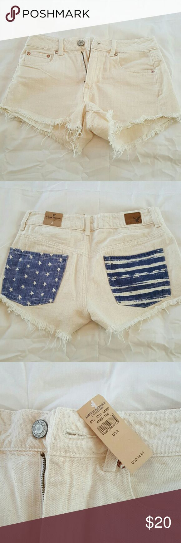 American Eagle shorts Off white jean shorts with stars ans stripe details on back pockets. Cut off look. Brand New with tags size 2 American Eagle Outfitters Shorts Jean Shorts