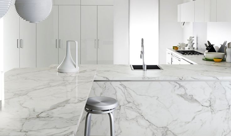 Formica® 180fx® 3460-90 Calacatta Marble - now offered in shiny, gloss finish!   Formica® EliteForm improves surfaces properties so that now gloss can be used on horizontal countertops – so they can stand up to everyday life!