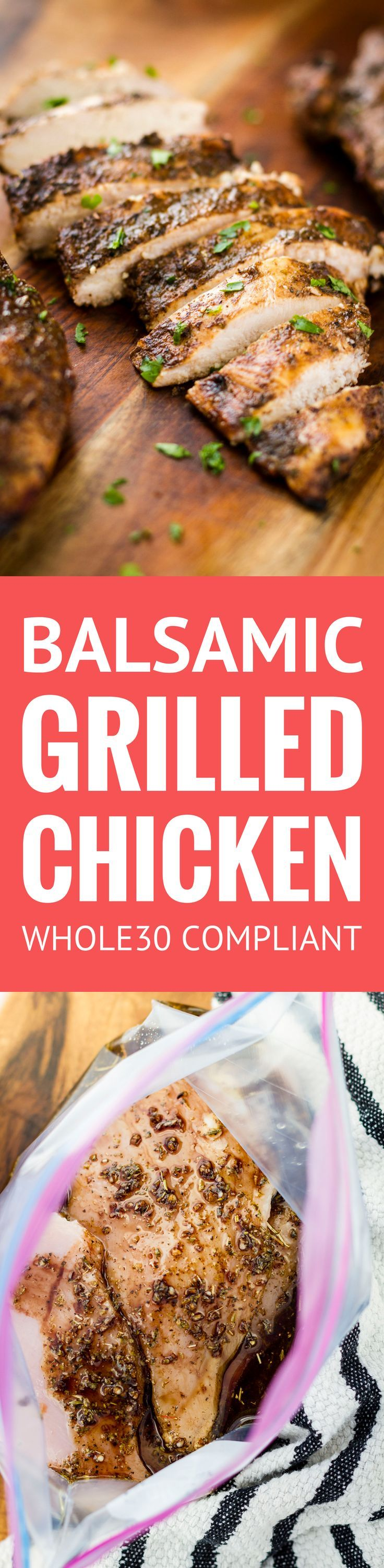 This balsamic grilled chicken recipe makes the most juicy & succulent boneless skinless breasts EVER w/ just 4 ingredients! And it's Whole30 compliant...