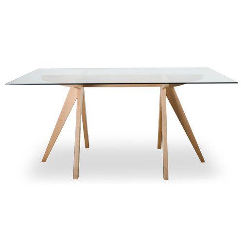 Mesa comedor crate de cristal y madera transparente - Mesa de comedor cristal ...