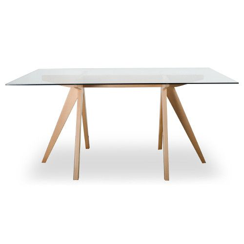 Mesa comedor crate de cristal y madera transparente for Mesa comedor cristal y madera