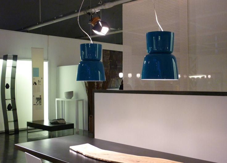 New blue lagoon #Bloom suspension lamps displayed at the Design Store in Milano   www.prandina.it