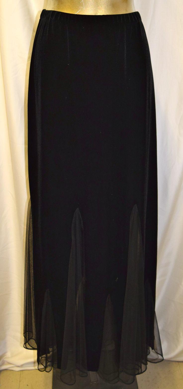 Vintage BA Nites Black Velvet & Sheer Formal Skirt