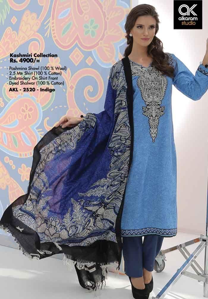 AKL 2520 - Indigo Rs. 4900/- Pashmina Shawl (100 % Wool) 2.5 Mtr Shirt (100 % Cotton) Embroidery On Shirt Front Dyed Shalwar (100 % Cotton)  www.alkaramstudio.com