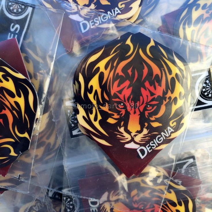 5 sets of DART FLIGHTS Standard Shape DESIGNA DSX Tiger Flames EXTRA STRONG
