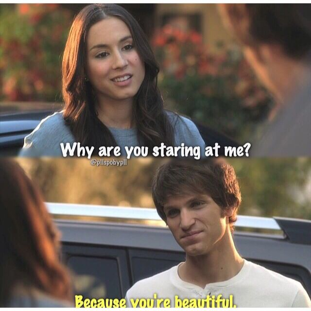 "Toby Cavanaugh and Spencer Hastings quote ""Because you're beautiful."" PLL #Spoby"