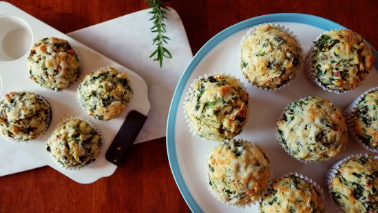 Spinach bacon muffin with feta