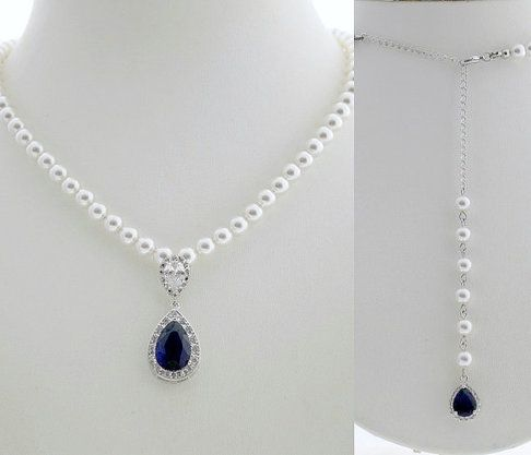 Aoi Pearl Back Necklace with Blue Pendant