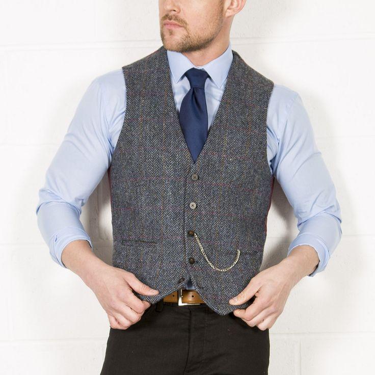 HARRIS TWEED Blue Check Tweed Waistcoat